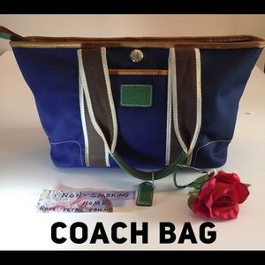 COACH BAG BLUE BROWN CREAM